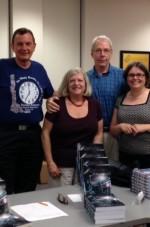 Chuck Micelli, Carole Shmurak, Steve Liskow, and Cori Arnold return to the Avon Public Library in July 2015