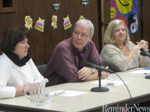 Leslie Meier, Steve Liskow and Carole Shmurak at the Enfield Public Library