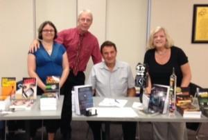 Cori Arnold, Steve Liskow, Chuck Miceli and Carole Shmurak at the Avon Public Library